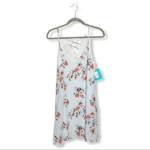 Fringe Criss Cross Back Dress Floral Blue Medium